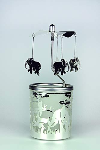 Kerzenfarm Hahn 84368 - Portavelas de Cristal (16 x 6 x 6 cm, Cristal), diseño de Elefante, Color Plateado