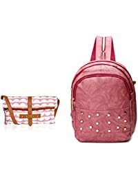 Kleio Combo Of One Fold Canvas PU Printed Sling Bag & Studded Backpack For Women / Girls