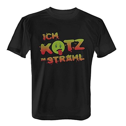 Ich kotz im Strahl - Herren T-Shirt von Fashionalarm | Fun Shirt Spruch Spaß Kotzen Abkotzen Abgenervt Nervig Kein Bock eklig lustig Schwarz