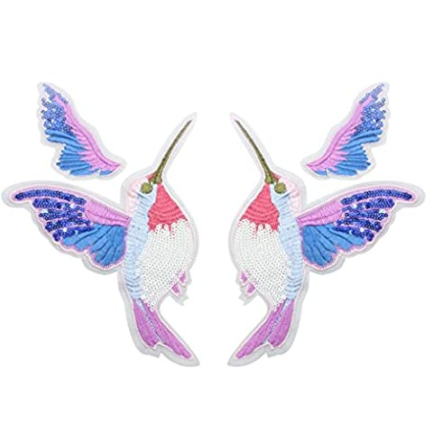 erthome Beautiful Bird Embroidered Sew Iron On Patches Badge Transfer Fabric Bag Clothes Applique (pink)