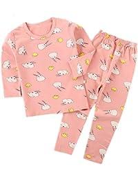 Yying Manga Larga Pyjama Sets Conjuntos de Pijama para Niñas Niño Pijama con Estampado de algodón de Ajuste cómodo de 2 Piezas 90cm-160cm