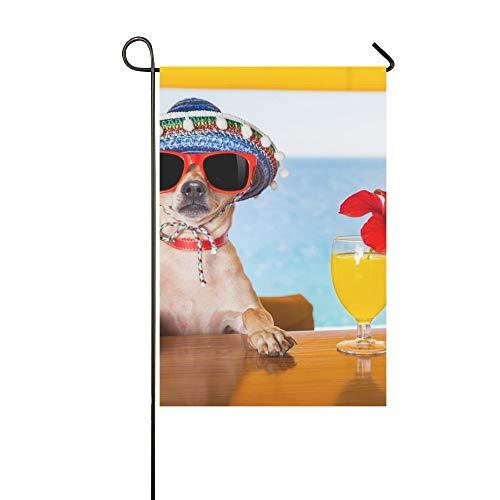 QuqUshop Wohnkultur Outdoor Doppelseitige Lustige Kühle Chihuahua Hund Trinken Cocktails Garten Flagge Haus Hof Flagge Garten Hof Dekorationen saisonale Willkommen Outdoor Flagge 12x18 In