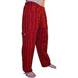 Pantalones de algodón coloridos, comercio ético, muy cómodos. Rayas de Rojo.