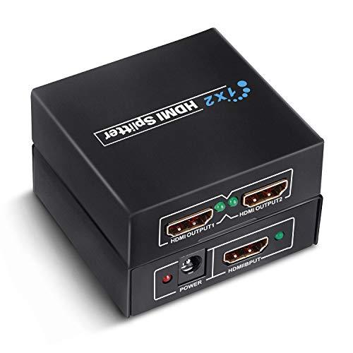 GHB HDMI Splitter 1 Entrada y 2 Salidas Full HD 1080p / 2160p 3D HDCP Fuente de Alimentación -Negro