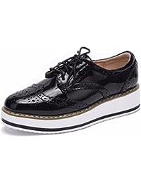 Moonwalker Zapatos con Cordones de Cuero Mujer Oxford Cuña ( EUR 34.5,Beige)