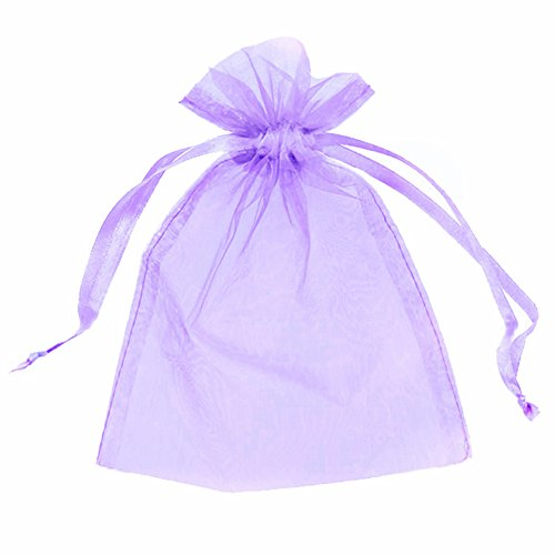 100 ORGANZA BAGS 7CM X 9CM WEDDING FAVOUR BAGS, GIFTS, JEWELLERY, FAVOURS, 15 COLOURS AVAILABLE (LILAC, 7cmx9cm)