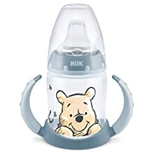 NUK First Choice+ Learn to Drink Bottle | 6-18 Months | Leakproof Spout | Ergonomic Handles | Anti-Colic Valve | BPA Free | 150ml | Disney Winnie The Pooh | Blue (Boy)