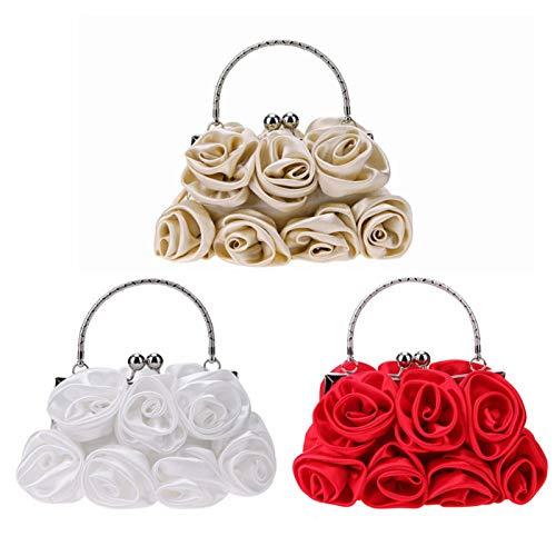 OneMoreT Elegante Damen-Handtasche aus Satin, mit Strasssteinen, kleine Abendtaschen, Rosen-Blumenmuster, für Partys, Hochzeiten, Handtaschen khaki -