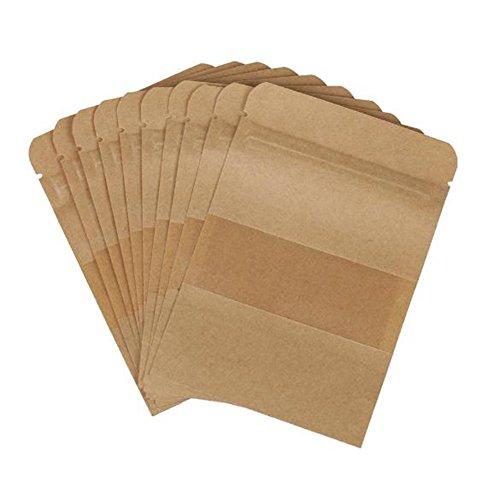 Cdet 100X Papier Beutel Mit Sichtfenster Partytüten Versiegelbar Naturbraune Kraftpapierbeutel Tüten, für Zucker Tee Kaffeebohnen Kekes Süßigkeiten Brot Nuss Verpackungstasche Size 12 * ()