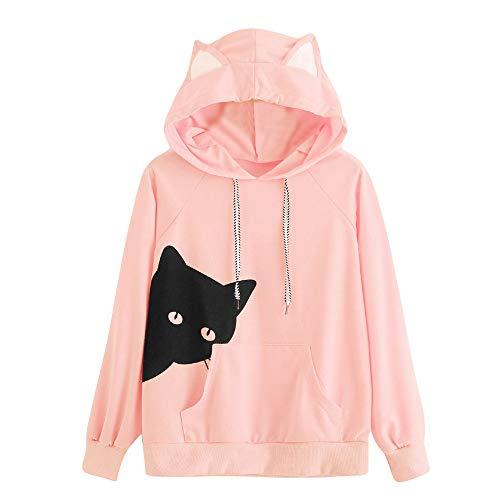 Damen Hoodie, VEMOW Frauen Schlafend Katze Langarm Sweatshirt Kapuze Tops Bluse(X3-Rosa, 36/L)