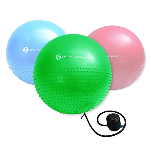 Sportastisch Gymnastikball Preissieger¹ Massage Gym Ball mit Ballpumpe & E-Book, Pilates Ball bis 150kg, 55cm Sitzball für Büro Gym Stuhl Fitness Yoga mit bis zu 3 Jahren Garantie² (65cm/75cm)