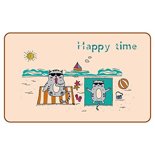 RUIWSFEU Naturkautschukmatte, Teppich aus Leinenimitat im Wohnzimmer, farbige Gummimatte, gemusterte Leinenmatte, 22-Sand-Katze_40cmx60cmx5mm