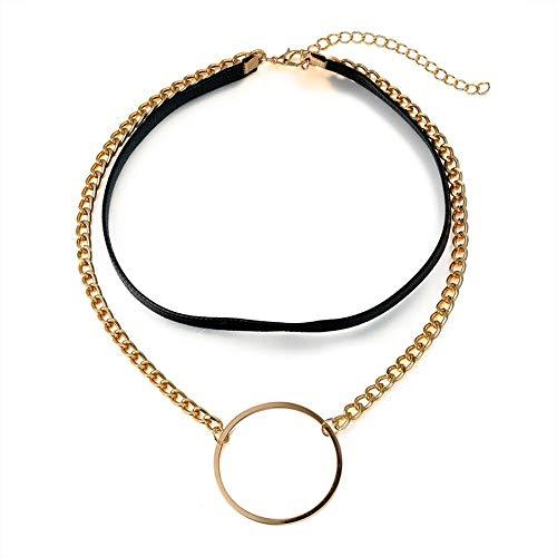 XZZZBXL Damenhalskette Steampunk Halskette Leder Halsband Frauen Schmuck Grosse Runde Anhänger mit Halskette Boho benutzerdefinierte Schmuck ()