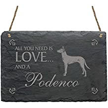 Pizarra « All You Need is Love And A podenco » – cartel con diseño –