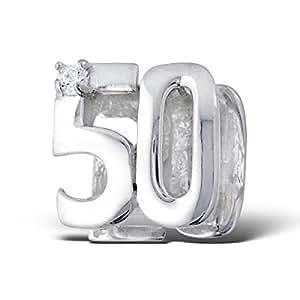 50 geburtstag sterling silber 925 mit diamant stones f r pandora troll chamilia style charm. Black Bedroom Furniture Sets. Home Design Ideas