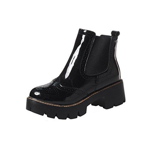 YE Damen Chelsea Boots Blockabsatz Lack Stiefeletten Plateau mit 5cm Absatz Bequem Modern Freizeit Schuhe