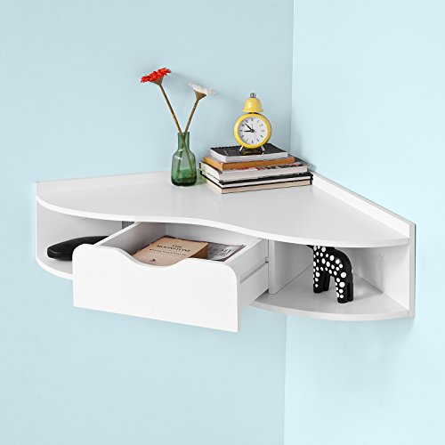 sobuy fwt26 w bureau d 39 angle table murale avec 1 tiroir blanc meubles de bureaux. Black Bedroom Furniture Sets. Home Design Ideas