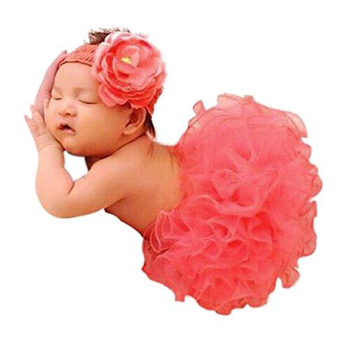 CHIC-CHIC 0-6 Monate Neugeborene Blumen Kostüm Tutu Rock Baby Foto Fotografie Prop Outfits Blumen Stirnband mit Tutu Rock