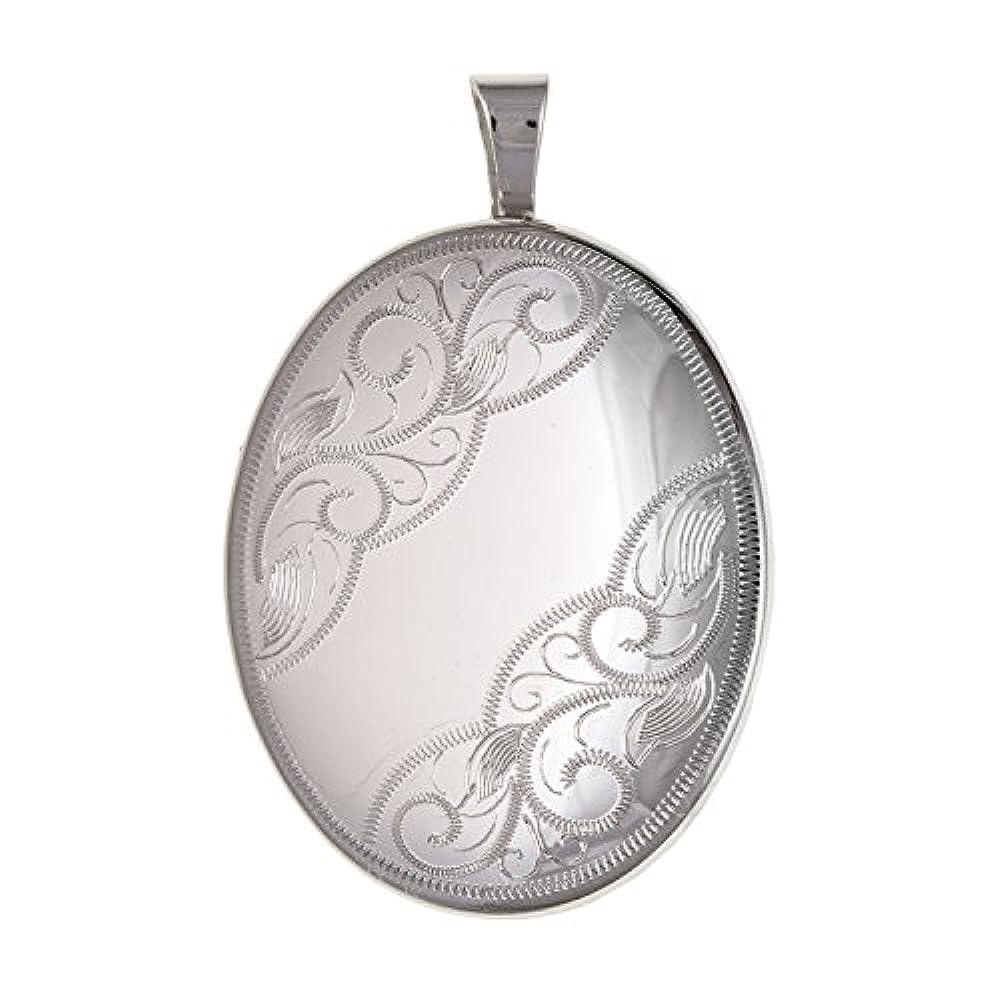 20mm breit medium Teil Viktorianischer Foliate Graviert Oval Medaillon–925Sterling Silber, Lieferung erfolgt in Geschenkbox oder Geschenkbeutel
