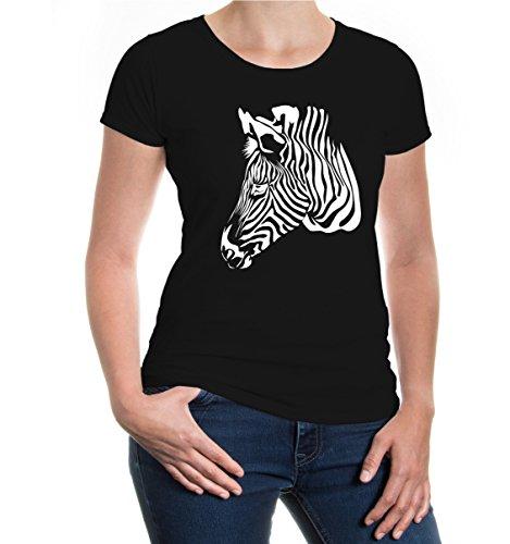 buXsbaum® Girlie T-Shirt Afrikanisches Wildpferd Black-White