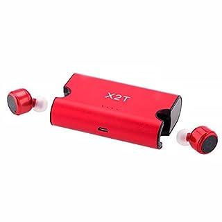 GEZICHTA Bluetooth-Kopfhörer, X2T Mini unsichtbar Truly Wireless Bluetooth V4.2 Stereo Surround Sound Ohrhörer In-Ear-Kopfhörer Aufladebox Unterstützung Freisprechen Smartphones iPhone, rot