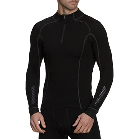 Helly Hansen Warm Freeze - Camiseta térmica de manga larga (cremallera hasta el pecho), color negro (black), talla: