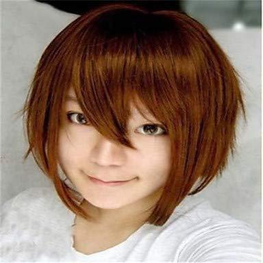 FUHOAHDD der Neue Cartoon Farbe Perücke braun Gesicht kurzen geraden Haar Perücken, Brown