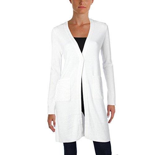 T Tahari Womens Desma Velvet Trim Open Front Cardigan Sweater Ivory XS (Womens Velvet Trim)