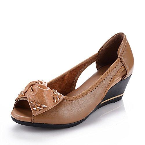 Peep toes/Middle sandales et chaussures féminines ans vieux/Fond mou, chaussures mamans/Chaussures de travail B