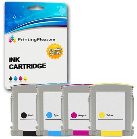 Printing Pleasure KIT 4x Cartucce d'inchiostro compatibili Sostituzione per HP 10 / HP 11 per HP Designjet 10PS, 20PS, 70, 100, 100+, 110+, 50PS, 500, 500PS, 800, 800PS, Business Inkjet 1000, 1100, 1200, 2000C, 2200, 2230, 2250, 2280, 2600, 2600dn, 2700, 2800, 3000, Colour Inkjet cp1700, 2000c, 2000cn, 2500c, 2500cm / Officejet Pro K850, 9100, 9110, 9120, 9130 (1x Nero, 1x Ciano, 1x Magenta, 1x Giallo)