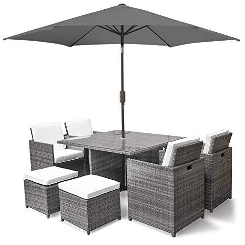 Harts Premium Rattan Dining Set, Cube 8 Seats Garden Patio Conservatory Furniture inc & Parasol (Grey)