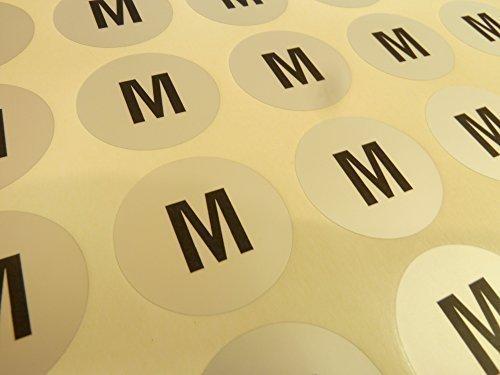 Herren Kleidung Kleidung Kleidungsstück Größe Aufkleber, Klebeetiketten XXS bis XXXL, schwarz auf Silber, Etiketten für Aufhänger, Box Verpackung - M (Kleidungsstück Boxen)