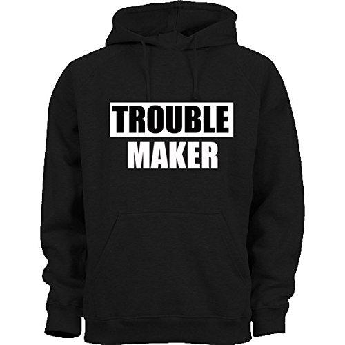 Trouble Maker caldo unisex stampato Felpa con cappuccio invernale Casual Black Medium