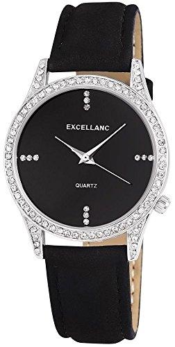 Excellanc Damen - Uhr Lederimitat Armbanduhr Strass Analog Quarz 1900060