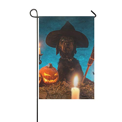 chwarzer Hund Halloween Kürbisse Auf Holzgarten Flaghouse Yard Flaggarden Yard Decorationsseasonal Willkommen Outdoor Flagge 12X18 Zoll ()