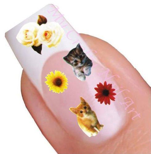 Chat stickers pour ongles décalques à l'eau - Transfert Décalque à l'eau, tatoo