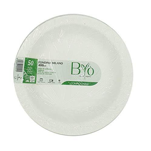 50 Teller FONDINE Schale H.3 Ø 19,4 cm - 12 gr. biologisch abbaubar und kompostierbar Robusto für Feste Weisheit Byò Milano 400 ml - Milano Cap