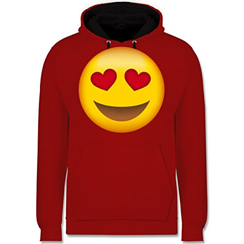 Comic Shirts - Verliebter Emoji - Kontrast Hoodie Rot/Schwarz