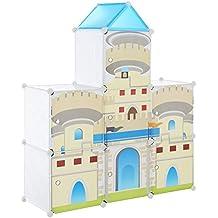 [Neu.haus] Estantería infantil DIY con 7 compartimentos de motivos blanco- azul, transparente (129,5x111cm) estantería ensamblable de plástico