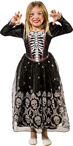 Girls Skeleton Princess Skull Queen Halloween Horror Fancy Dress Costume Outfit (6-8 years (EU 128))