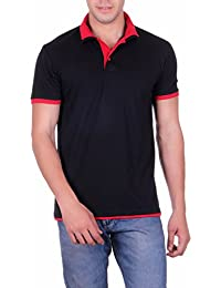 Vivid Bharti Red Double Collar Black Solid Cotton T-Shirt