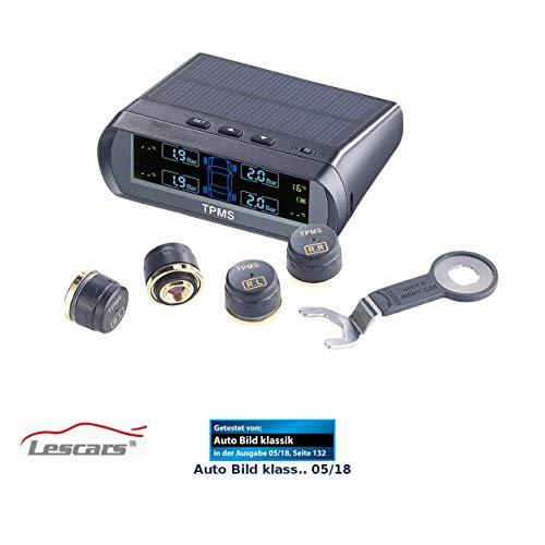 Lescars Reifendruckkontrolle: Kabelloses Reifendruck-Kontrollsystem mit Funk-Sensoren, Solar-Betrieb (Reifendruckkontrollsystem)