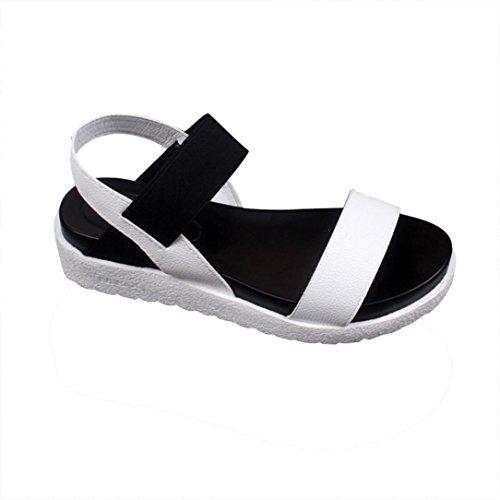 Elecenty Sandalen Damen Schuhe,Schuh Platform Plateau Sommerschuhe Shoes Sandaletten Frauen Elegante Peep-Toe OffeneWesternabsatz Freizeitschuhe Strandschuhe Studenten-Sandalen (39, Weiß) (Mid Zehe Runde Wedge)