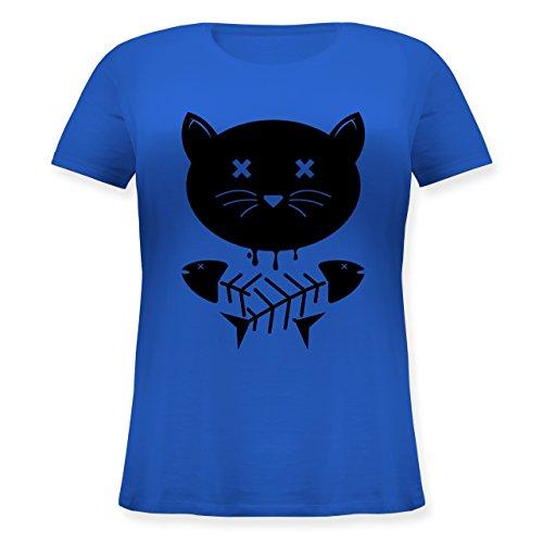 Shirtracer Katzen - Katze Skull - Lockeres Damen-Shirt in Großen Größen mit Rundhalsausschnitt Blau