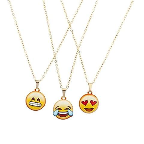 Lux Accessories - Lot de 3 colliers fantaisie à breloque émoticône de couleur dorée