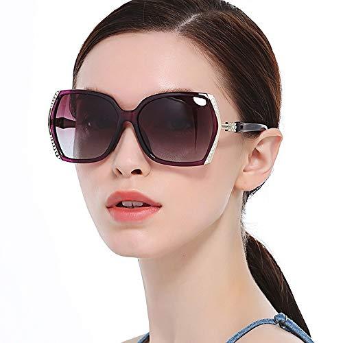Easy Go Shopping Sonnenbrillen Damen Strass polarisierte übergroße Damen Shades Eyewear UV400 Driving Sonnenbrille Sonnenbrillen und Flacher Spiegel (Farbe : Gold Frame Purple Piece, Größe : Free)