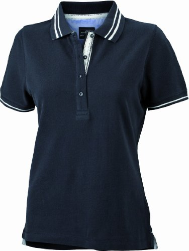 James & Nicholson Damen Poloshirt Ladies' Lifestyle Large black/off-white