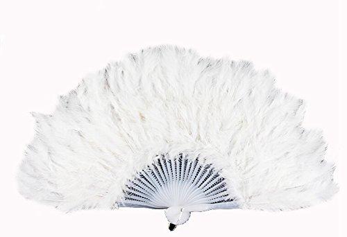 DAYAN Halloween ventaglio della piuma pieghevole di plastica Costume accessorio Fan di danza Festa Di Natale color bianco