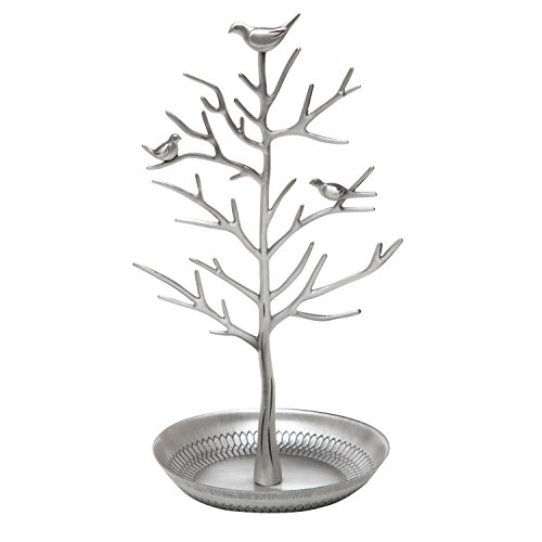 Jewellery Display/Stand - Antique Birds Tree /Earring Necklace Bracelets Jewelry Storage Holders /Hanging /Organiser /Rack /Tower - by Clothin(Antique Silver)