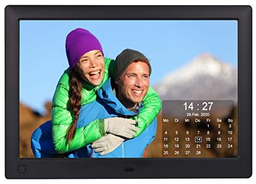 Cytem Diamine QS 10sw Digitaler Bilderrahmen 25,7cm (10.1 Zoll) in 16:10 HD IPS | Bewegungssensor | Transparenter Kalender | 4 Bild Anzeige | Vollbild-Uhr | Schwarz
